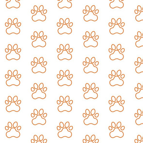 Pawprint Outline Polka dots - 1 inch (2.54cm) - Mid Orange (#FF5F00) on White (#FFFFFF)