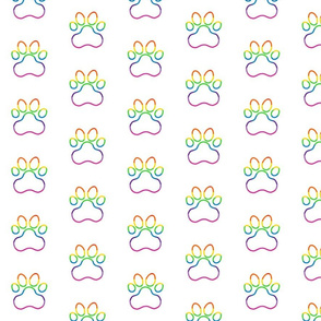 Pawprint Polka dots - 1 inch (2.54cm) - Rainbow Outline on White (#FFFFFF)