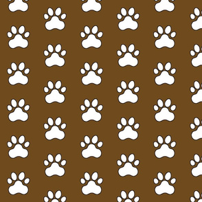 Pawprint Polka dots - 1 inch (2.54cm) - White (#FFFFFF) on Dark Brown (#6E4A1C)