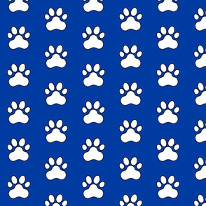 Pawprint Polka dots - 1 inch (2.54cm) - White (FFFFF) on Dark Blue (#003ba2)