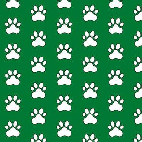 Pawprint Polka dots - 1 inch (2.54cm) - White (FFFFF) on Dark Green (#007934)