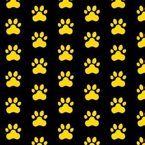 Pawprint Polka dots - 1 inch (2.54cm) - Yellow (#FFD900) on Black (#000000)