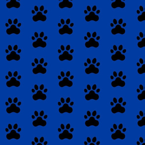 Pawprint Polka dots - 1 inch (2.54cm) - Black (#000000) on Dark Blue (#003BA2)