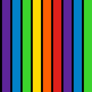 Stripes - Vertical - 2 inch (5.08cm) - Rainbow stripes with 0.63 inch (1.59cm) thick Black (#000000) Outlines