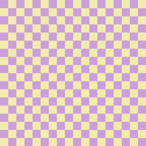 Checks - 1 inch (2.54cm) - Beige (#F3E3C0) and Pale Purple (#DD97FC)