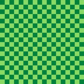 Checks - 1 inch (2.54cm) - Pale Green (#89DA65) and Dark Green (#00813C)
