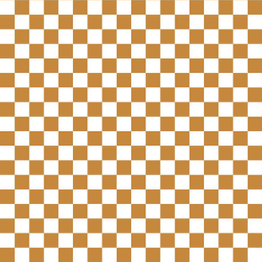 Checks - 1 inch (2.54cm) - Light Brown (#C6883D) & White (#FFFFFF)