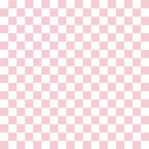 Checks - 1 inch (2.54cm) - Pale Pink (#F5CCD3) & White (#FFFFFF)