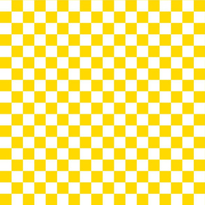 Checks - 1 inch (2.54cm) - White (#FFFFFF) & Mid Yellow (#FFD900)