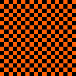 Checks - 1 inch (2.54cm) - Black (#000000) & Orange (#FF5F00)