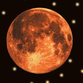 harvest moon supermoon and stars