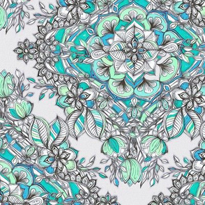 Floral Diamond Doodle in Mint Green, Turquoise and Grey