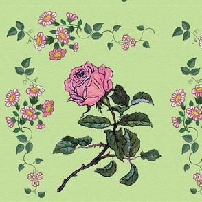 Danita's Vintage Flowers on Green