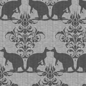 Kissing Kangaroo Damask ~ Grey Linen Luxe
