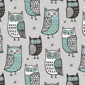 Owls  Owl Woodland Fall Winter Black&White Green on Grey