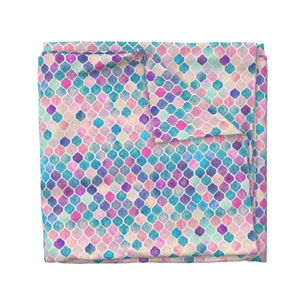 Wyandotte Duvet Cover featuring Rainbow Pastel Watercolor Moroccan Pattern by micklyn
