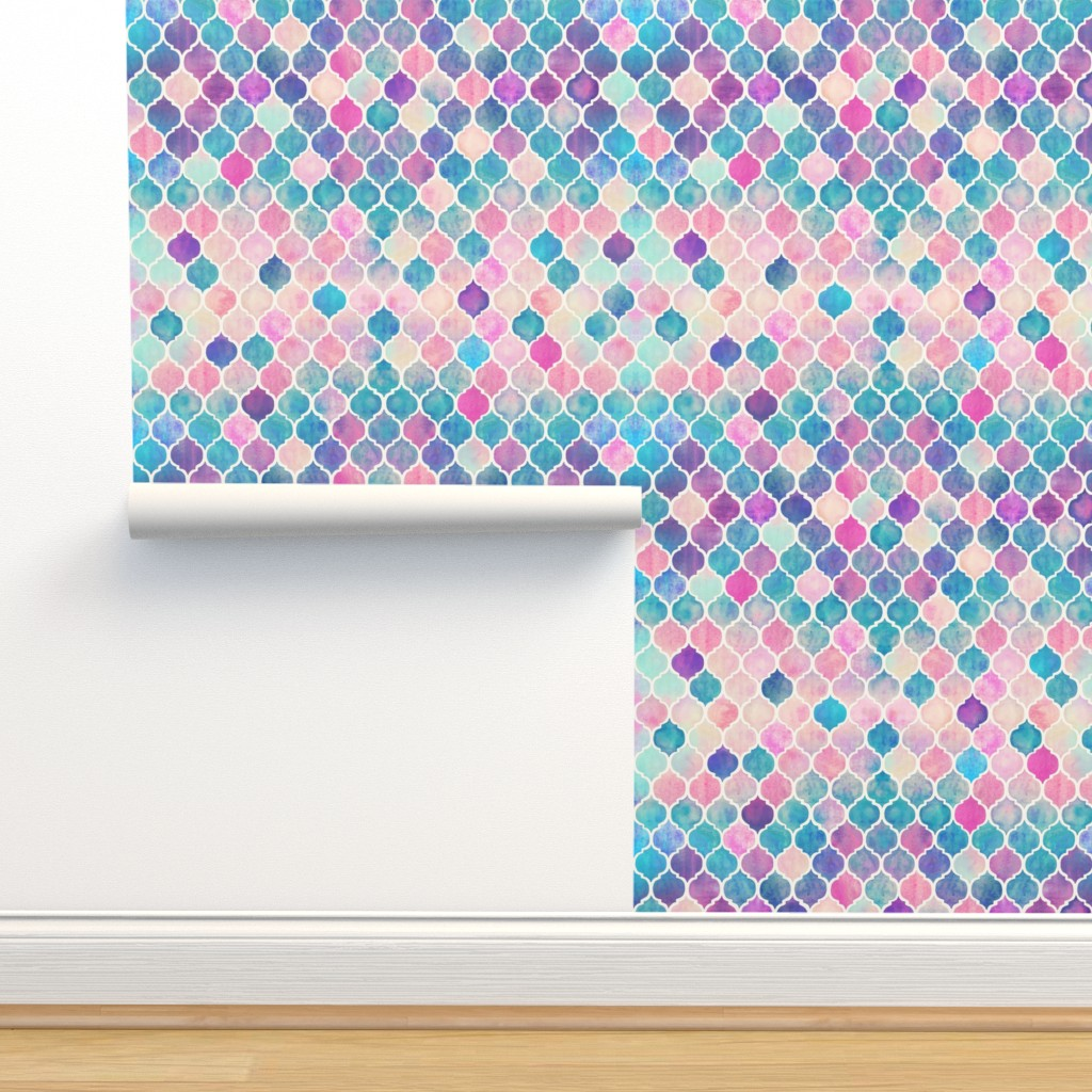 Isobar Durable Wallpaper featuring Rainbow Pastel Watercolor Moroccan Pattern by micklyn