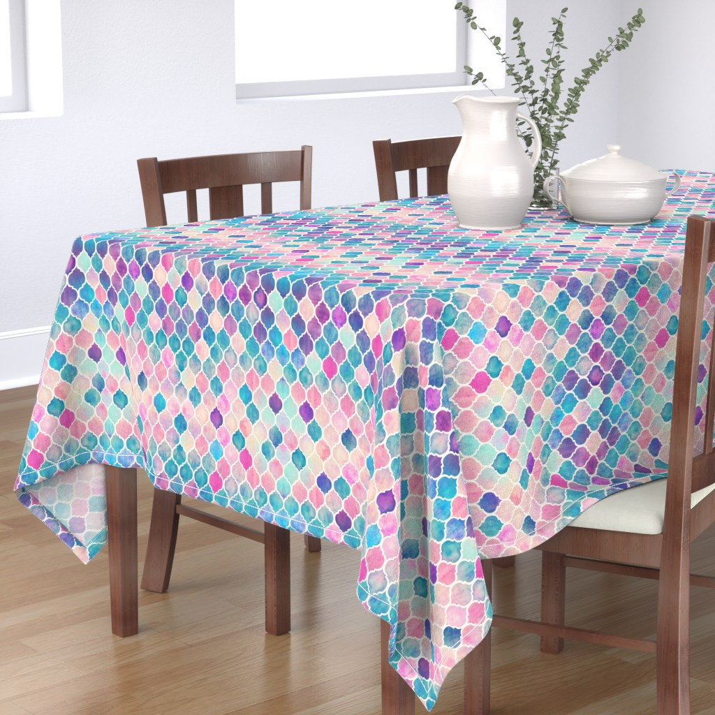 Bantam Rectangular Tablecloth featuring Rainbow Pastel Watercolor Moroccan Pattern by micklyn