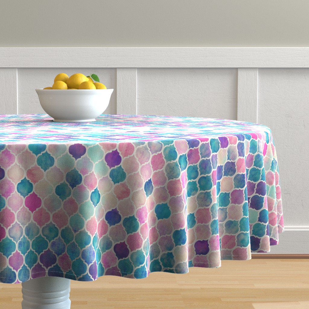 Malay Round Tablecloth featuring Rainbow Pastel Watercolor Moroccan Pattern by micklyn