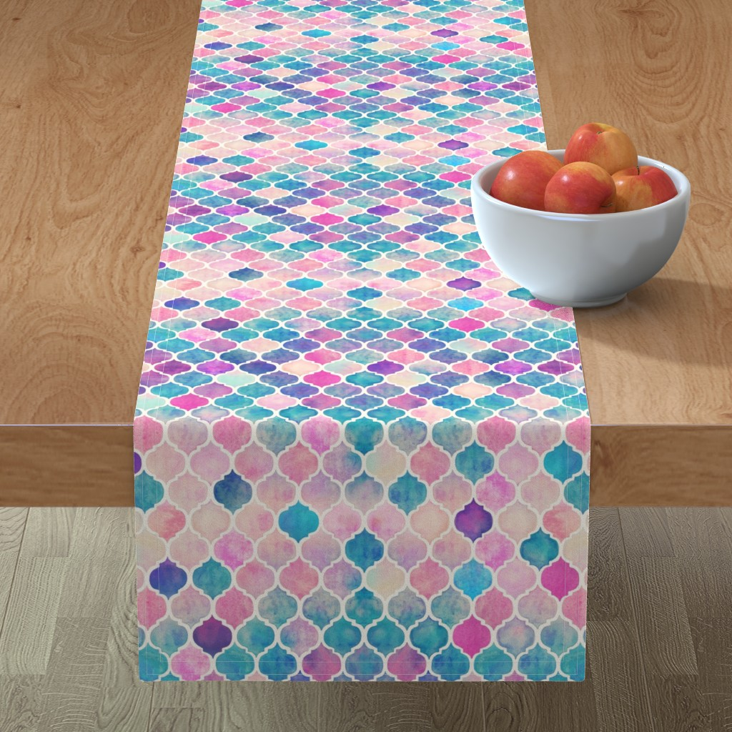 Minorca Table Runner featuring Rainbow Pastel Watercolor Moroccan Pattern by micklyn