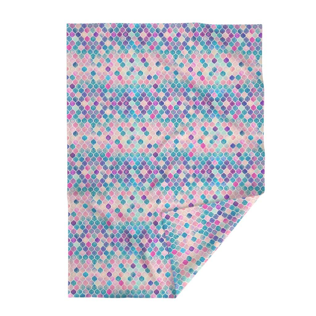 Lakenvelder Throw Blanket featuring Rainbow Pastel Watercolor Moroccan Pattern by micklyn