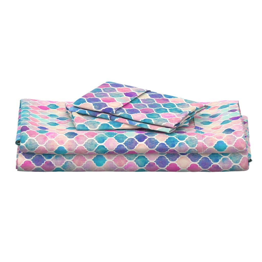 Langshan Full Bed Set featuring Rainbow Pastel Watercolor Moroccan Pattern by micklyn