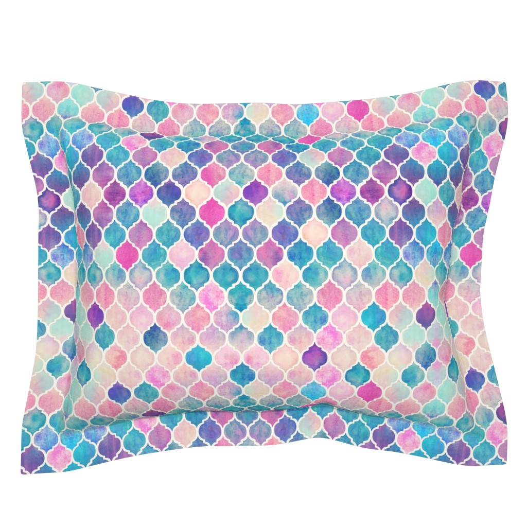 Sebright Pillow Sham featuring Rainbow Pastel Watercolor Moroccan Pattern by micklyn