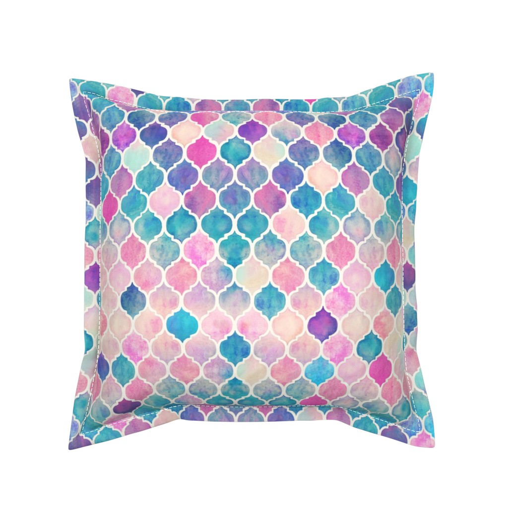 Serama Throw Pillow featuring Rainbow Pastel Watercolor Moroccan Pattern by micklyn