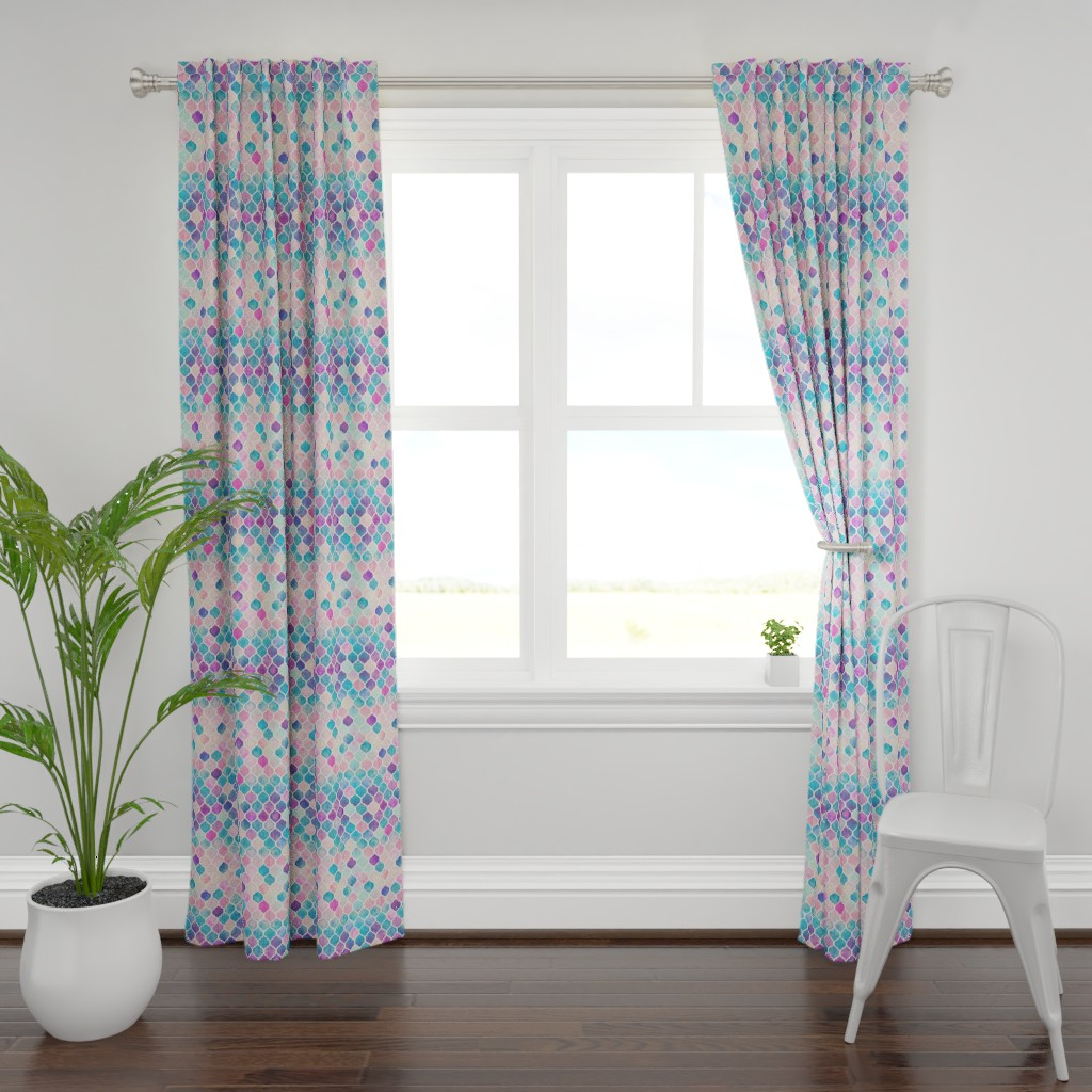 Plymouth Curtain Panel featuring Rainbow Pastel Watercolor Moroccan Pattern by micklyn
