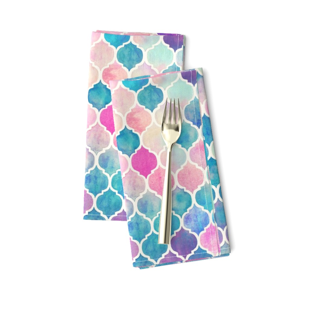 Amarela Dinner Napkins featuring Rainbow Pastel Watercolor Moroccan Pattern by micklyn