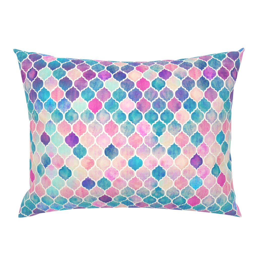 Campine Pillow Sham featuring Rainbow Pastel Watercolor Moroccan Pattern by micklyn