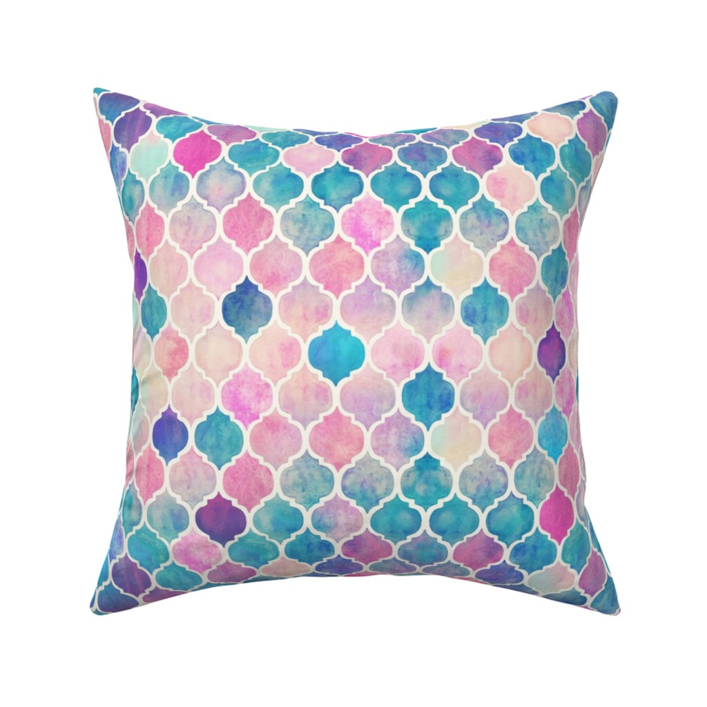 Catalan Throw Pillow featuring Rainbow Pastel Watercolor Moroccan Pattern by micklyn