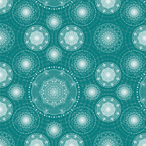 Lace - teal and cream