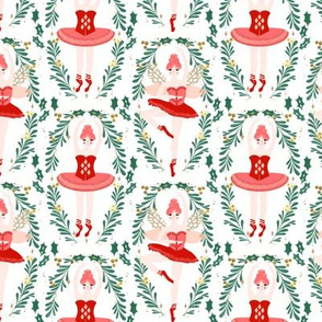 nutcracker ballerina // nutcracker ballet nutcracker christmas xmas holiday xmas red and pink ballet christmas fabric by andrea lauren