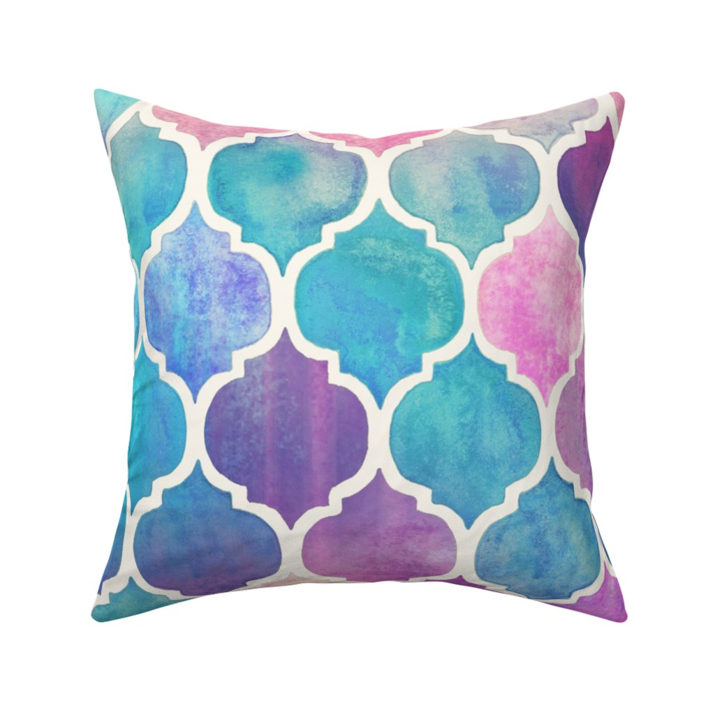 Catalan Throw Pillow featuring Rainbow Pastel Watercolor Moroccan Pattern - large by micklyn