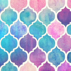 Rainbow Pastel Watercolor Moroccan Pattern - large