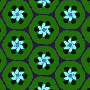 Lime Retro Crescent Flower