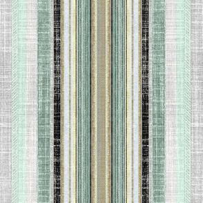 Celadon and gray faux linen ticking stripe
