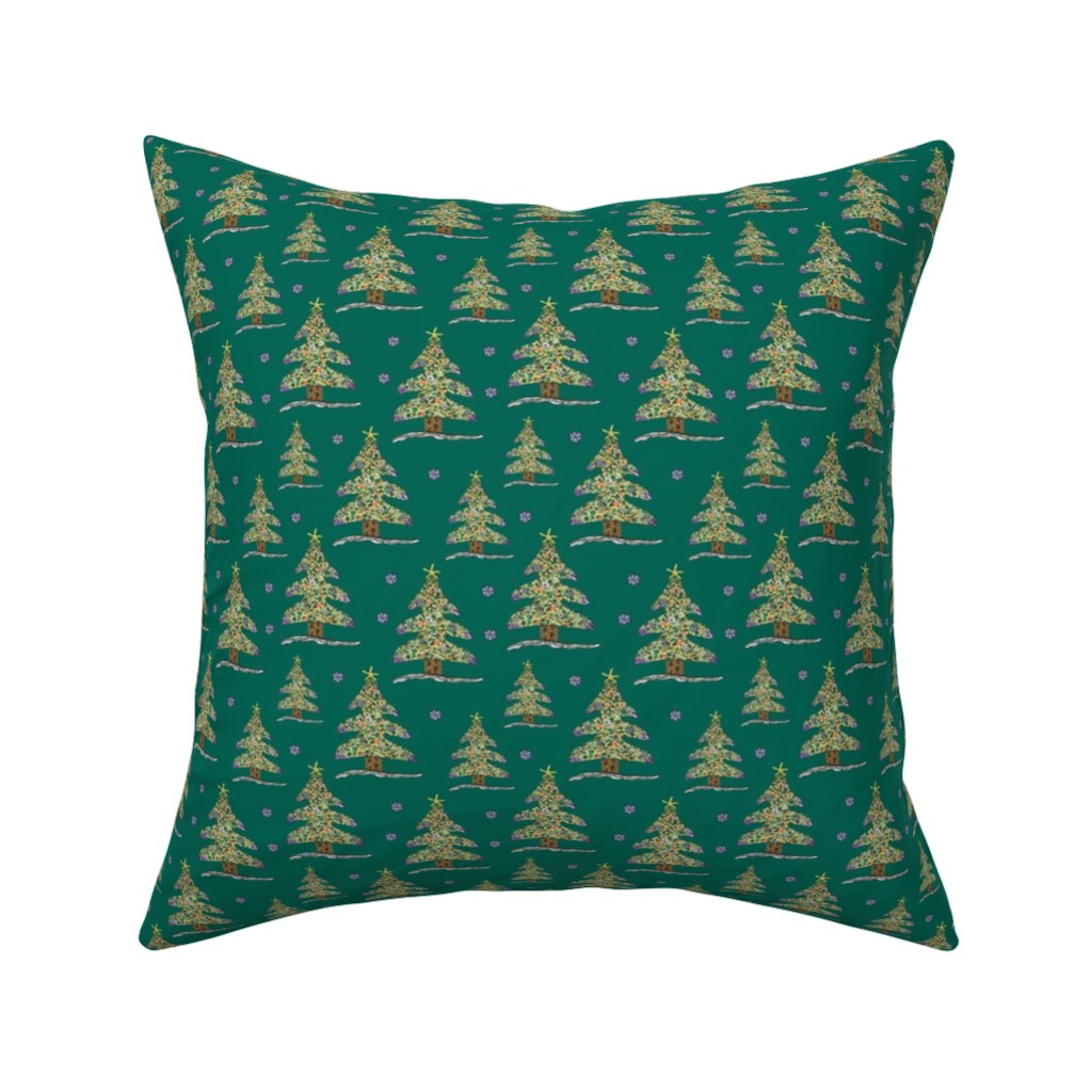 Catalan Throw Pillow featuring Seaside Christmas Tree (Green) by christinemay