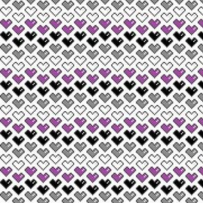Pixel Heart (Purple, Black, Grey, White) Chevron