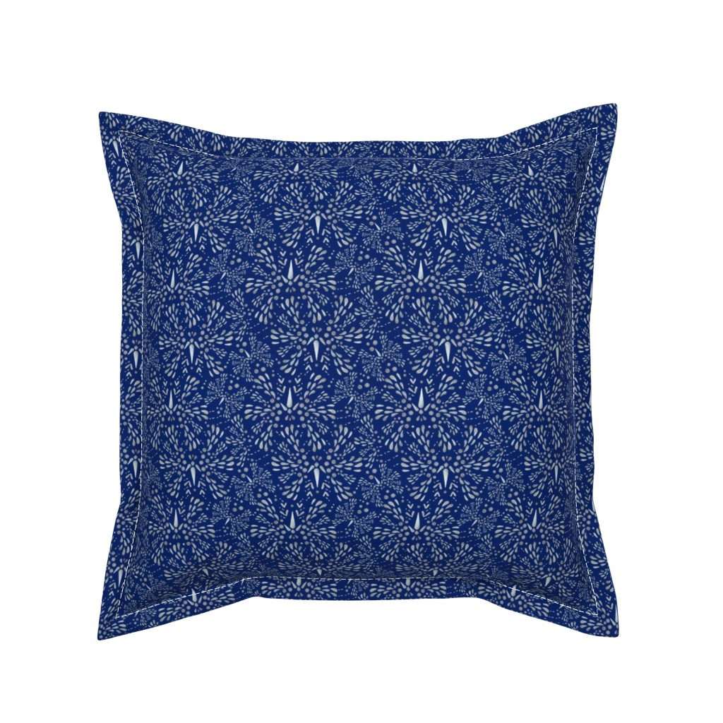 Serama Throw Pillow featuring Silver Twinkle (Deep Blue) by christinemay