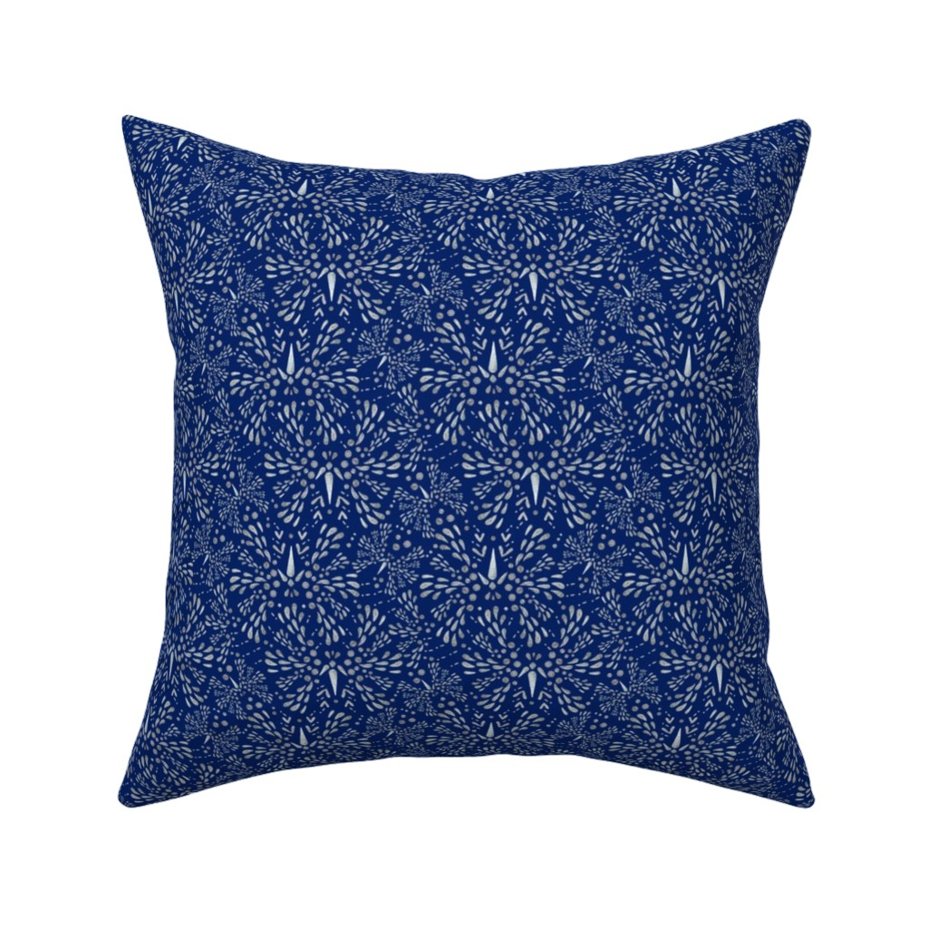 Catalan Throw Pillow featuring Silver Twinkle (Deep Blue) by christinemay