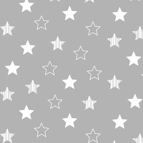 Stars Scattered - White on Gray