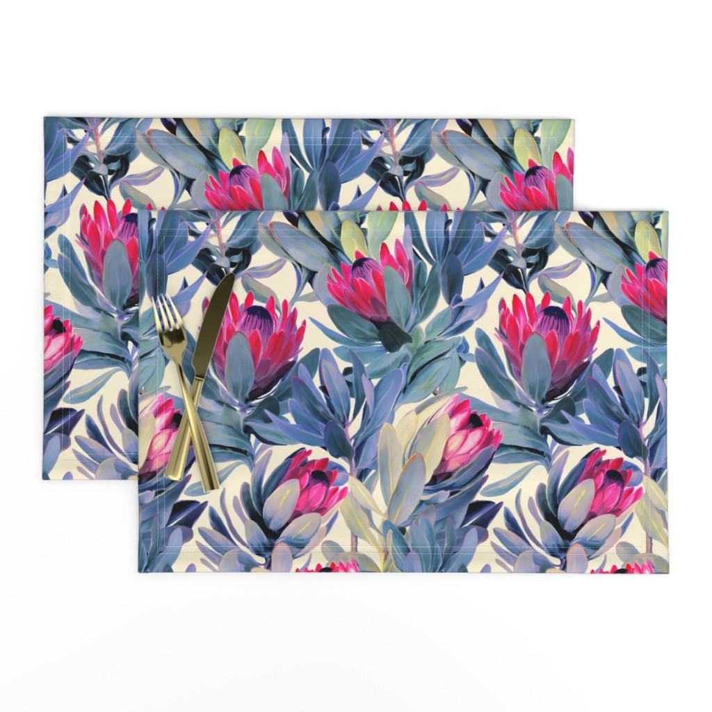 Lamona Cloth Placemats featuring Painted Protea Floral - magenta and grey blue colorway by micklyn