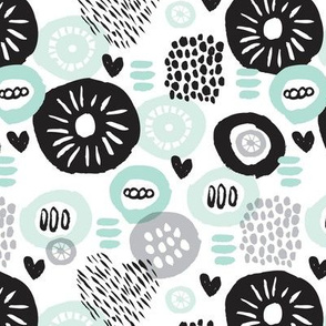 Retro flower blossom cute gender neutral pastel black and white florals in scandinavian style mint