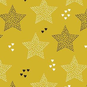 Twinkle twinkle little star cute baby nursery or christmas theme print in black white and dark night mustard yellow