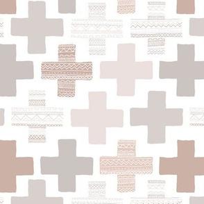 Plus plus cross geometric modern patterns in pastel beige and gray