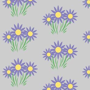 Danita's Purple Flowers on Gray