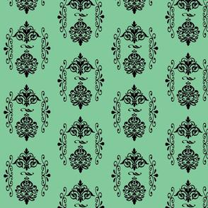 Danita's Black Swirls on Blue Green