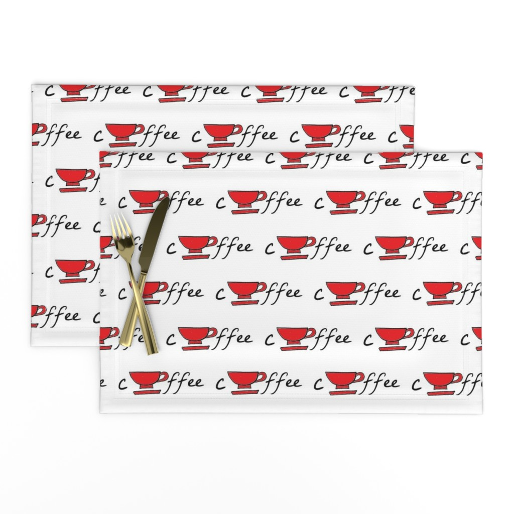 Lamona Cloth Placemats featuring cup of coffee - red by drapestudio